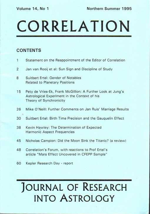 SMITH, RUDOLF H. [ED.] - Correlation. Journal of Research into Astrology. Vol. 14, no. 1 Northern Summer 1995, no. 2 Northern Winter 1995/96