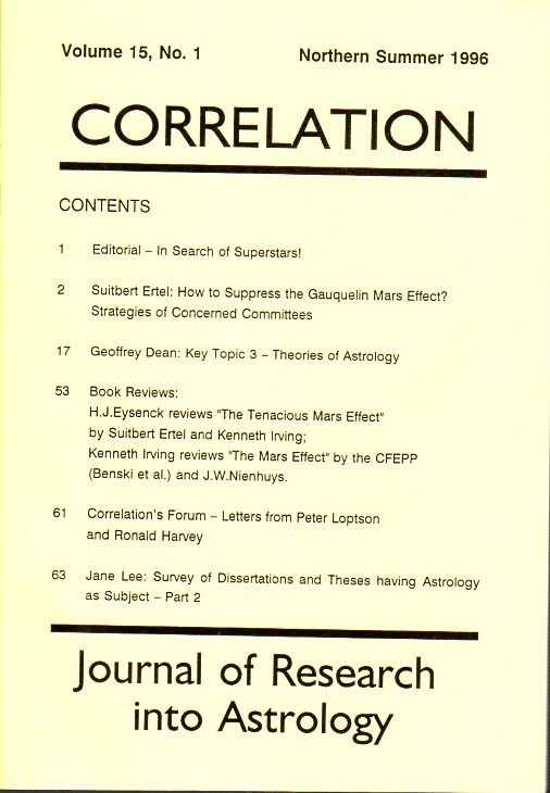 SMITH, RUDOLF H. [ED.] - Correlation. Journal of Research into Astrology. Vol. 15, no. 1, Northern Summer 1996