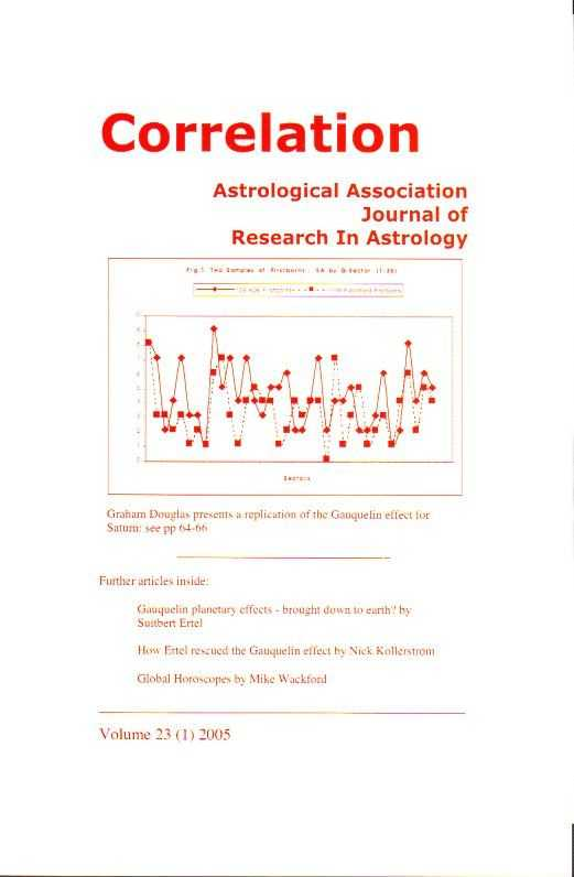 HARRIS, PAT [ED.] - Correlation. Journal of Research into Astrology. Vol. 23, no. 1, 2005